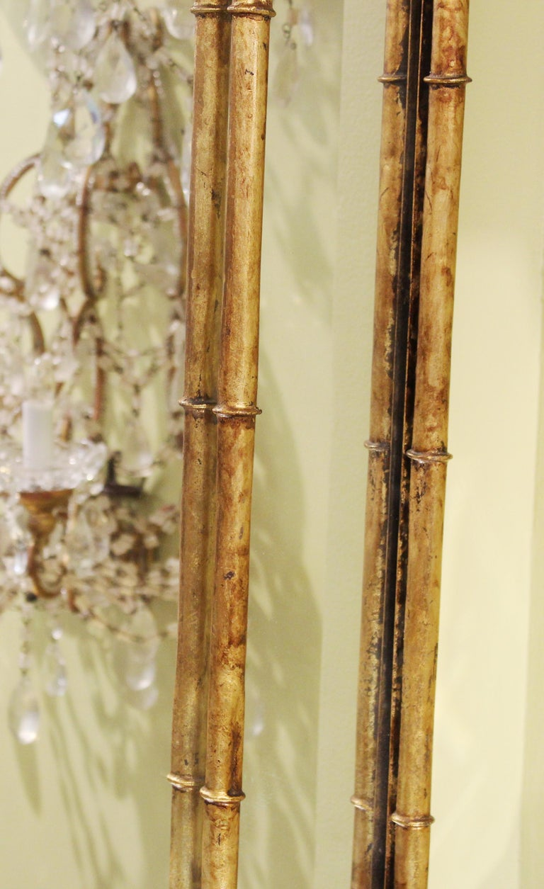 Chinese Chippendale Gilt Metal Faux Bamboo Wall Mirror In Good Condition For Sale In New York, NY
