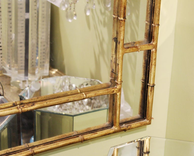 Late 20th Century Chinese Chippendale Gilt Metal Faux Bamboo Wall Mirror For Sale