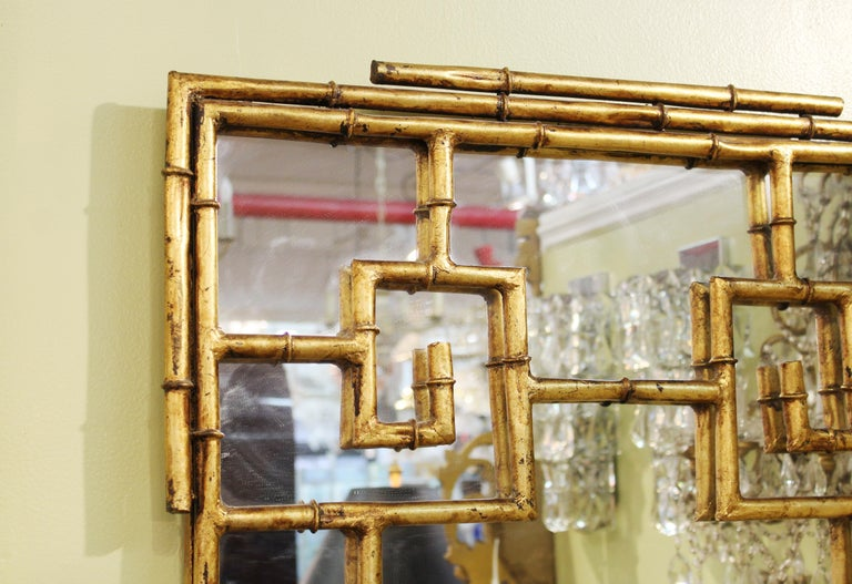 Chinese Chippendale Gilt Metal Faux Bamboo Wall Mirror For Sale 1