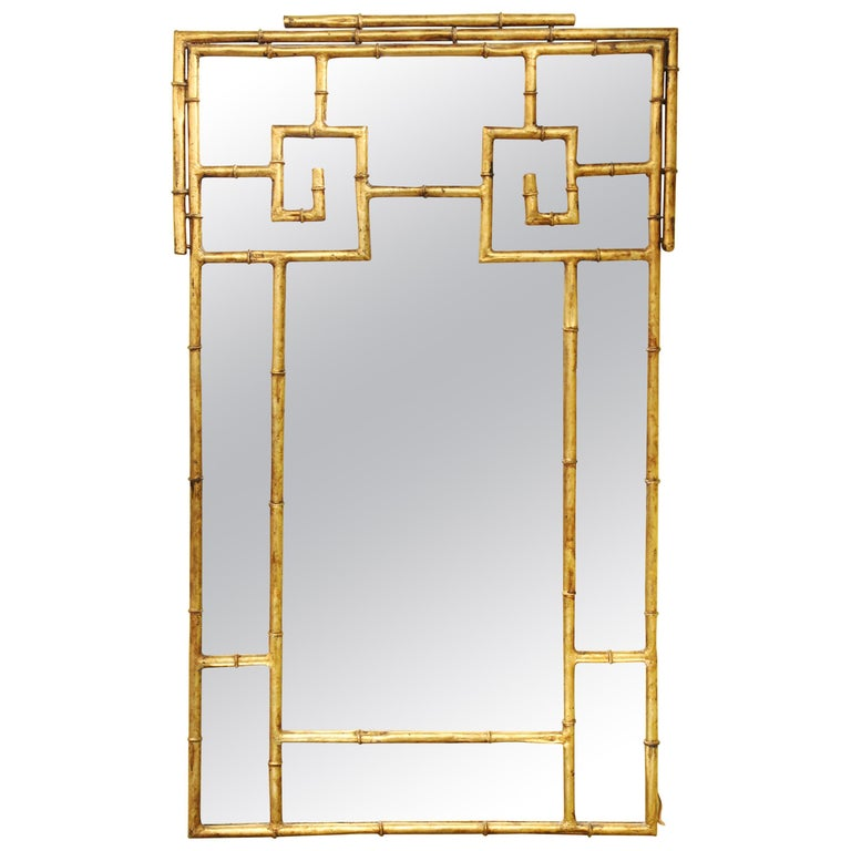 Chinese Chippendale Gilt Metal Faux Bamboo Wall Mirror For Sale