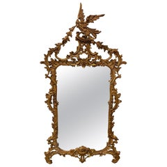 Chinese Chippendale Hand Carved Gilded Wood Mirror
