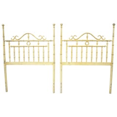 Chinese Chippendale Hollywood Regency Faux Bamboo Metal Twin Headboards, a Pair