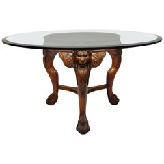 Chinese Chippendale Mahogany Lion Head Claw Feet Pedestal Dining Table Glass Top