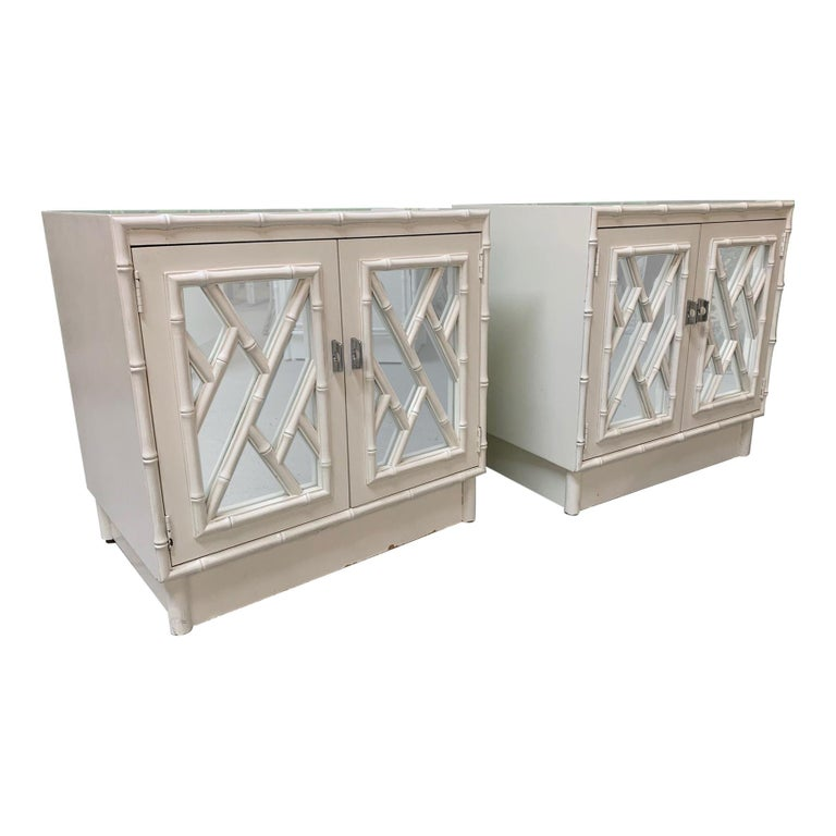 Chinese Chippendale Mirror Front Nightstands, a Pair For Sale