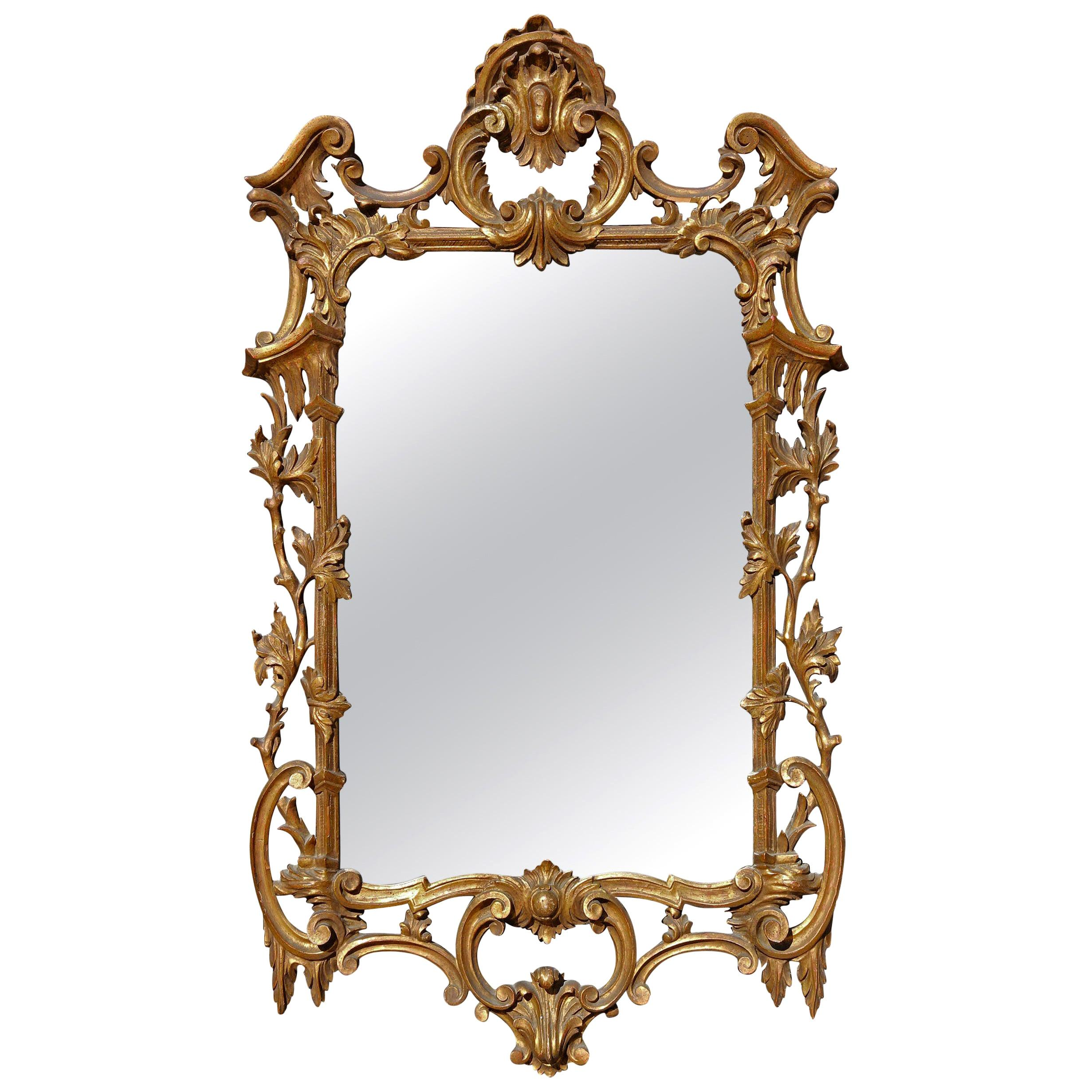 Chinese Chippendale Mirror Gilt and Carved