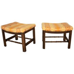 Chinese Chippendale Pair of Foot Stools in Orange and Yellow Stripe Upholstery