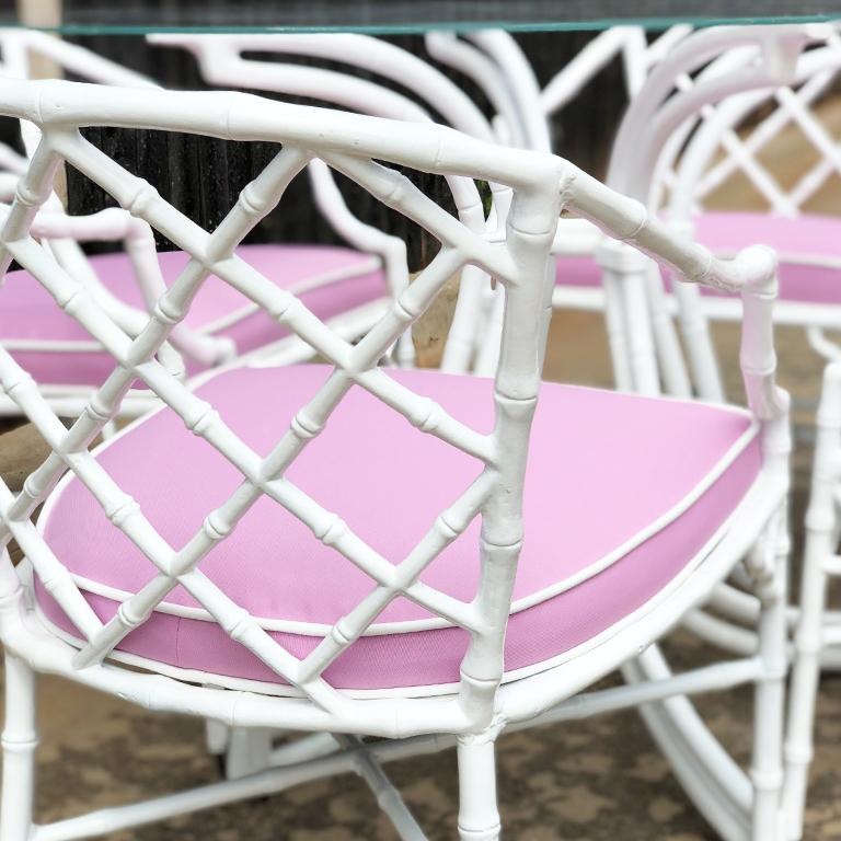 White chippendale faux bamboo iron patio set 4 arm chairs pink Sunbrella fabric For Sale 5