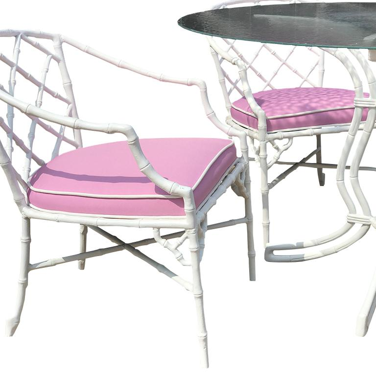 White chippendale faux bamboo iron patio set 4 arm chairs pink Sunbrella fabric For Sale 6
