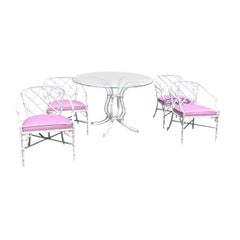 White chippendale faux bamboo iron patio set 4 arm chairs pink Sunbrella fabric