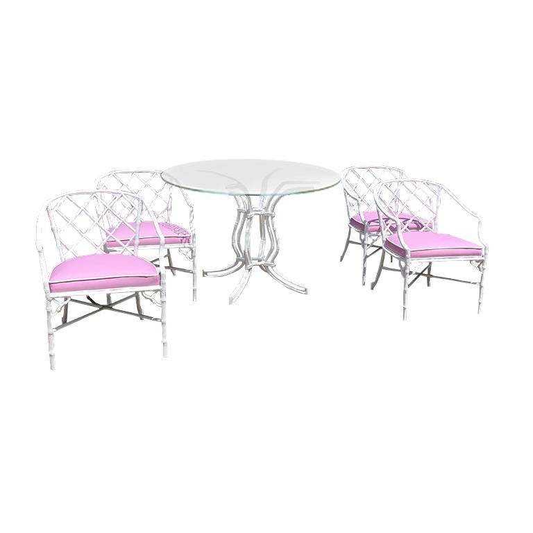 White chippendale faux bamboo iron patio set 4 arm chairs pink Sunbrella fabric For Sale