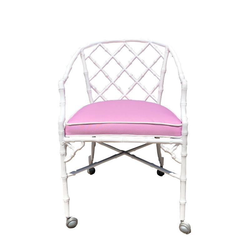 American White chippendale faux bamboo iron patio set 4 arm chairs pink Sunbrella fabric For Sale