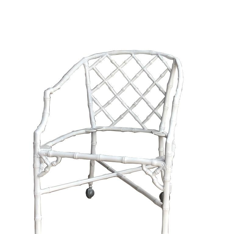 White chippendale faux bamboo iron patio set 4 arm chairs pink Sunbrella fabric In Good Condition For Sale In Oklahoma City, OK