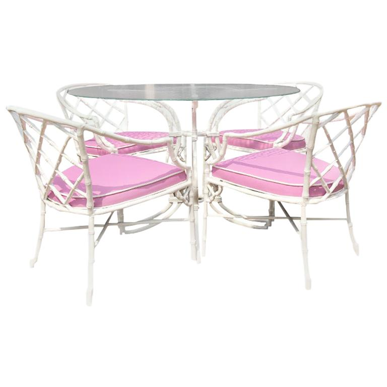 Hollywood Regency White chippendale faux bamboo iron patio set 4 arm chairs pink Sunbrella fabric For Sale