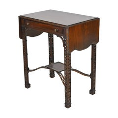 Chinese Chippendale Pembroke Table with Fretwork & Faux Bamboo Turnings