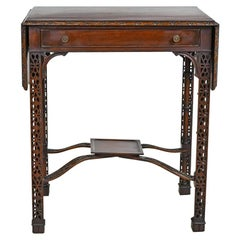 Chinese Chippendale Pembroke Table with Fretwork and Faux Bamboo Turnings