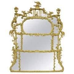 Chinese Chippendale Revival Overmantle Mirror