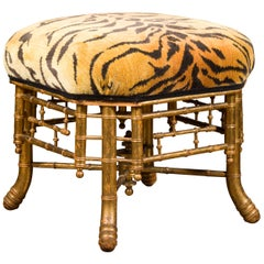 Chinese Chippendale Style 1840s English Gilt Faux Bamboo Stool with Tiger Fabric