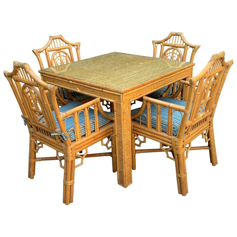 Chinese Chippendale Style Bamboo Game Dining Table and Armchairs For Sale
