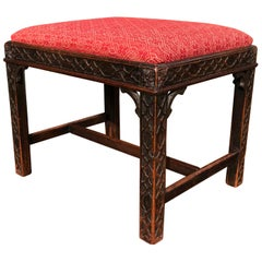 Chinese Chippendale Style Carved Mahogany Stool