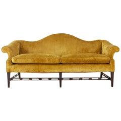 Chinese Chippendale Style Citron Velvet Camel Back Sofa