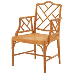 Chinese Chippendale-Style Faux Bamboo Armchair with Cane Seat