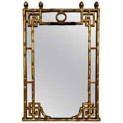 Chinese Chippendale Style Faux Bamboo Greek Key Gold Wall Mirror