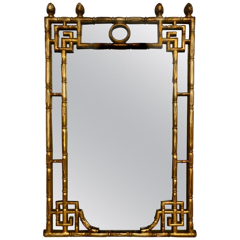 Chinese Chippendale Style Faux Bamboo Greek Key Gold Wall Mirror For Sale