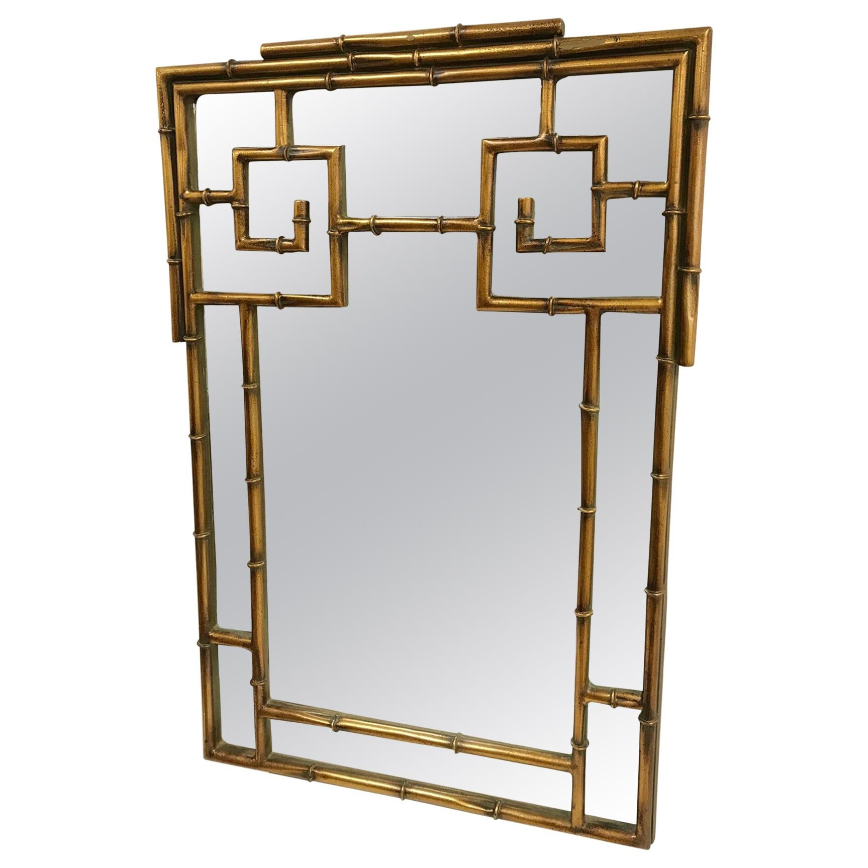 Chinese Chippendale Style Faux Bamboo Mirror