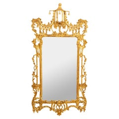 Chinese Chippendale Style Gilt and Gesso Mirror