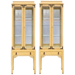 Chinese Chippendale Style Pagoda Form Cabinets / Vitrines by Century, Pair