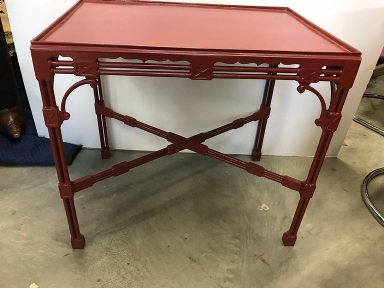 American Chinese Chippendale Tea Table in Cinnabar Red For Sale