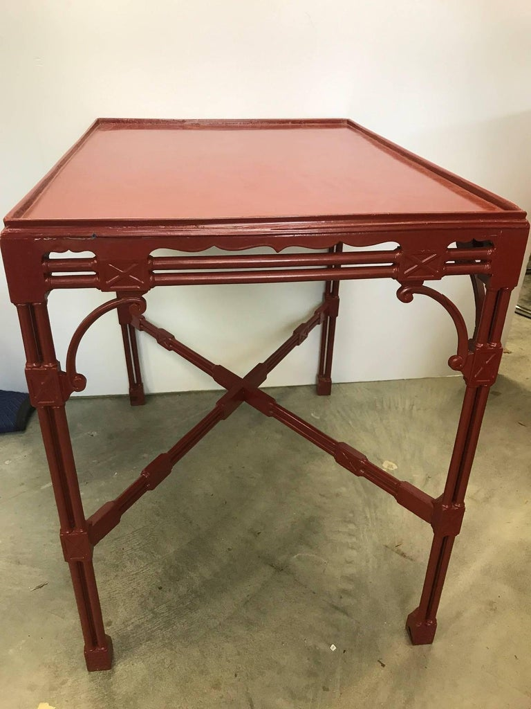 Lacquered Chinese Chippendale Tea Table in Cinnabar Red For Sale