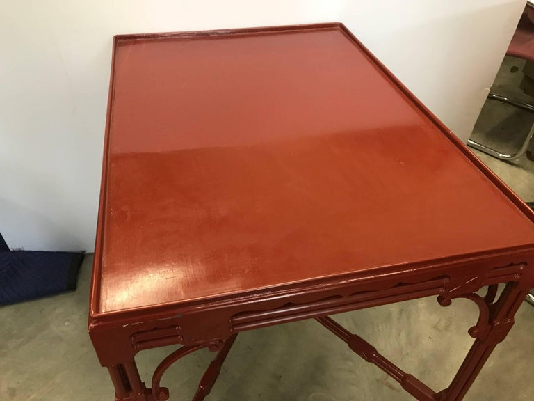 Chinese Chippendale Tea Table in Cinnabar Red In Excellent Condition For Sale In Lambertville, NJ