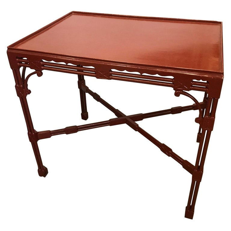 Chinese Chippendale Tea Table in Cinnabar Red For Sale