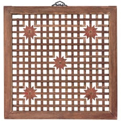 Chinese Chrysanthemum Lattice Window Panel, circa 1900