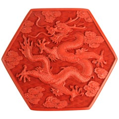 Chinese Cinnabar Box with Dragon Motif