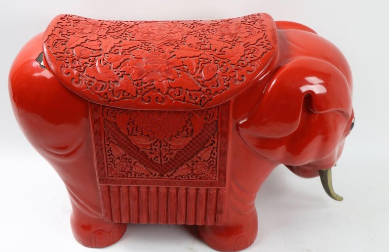 Chinese Cinnabar Elephant For Sale 5