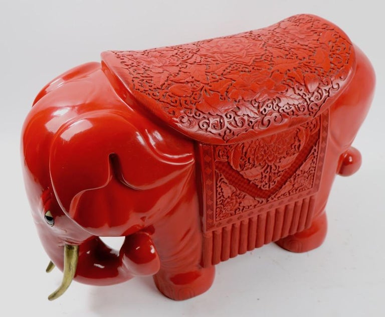 Chinese Cinnabar Elephant For Sale 10