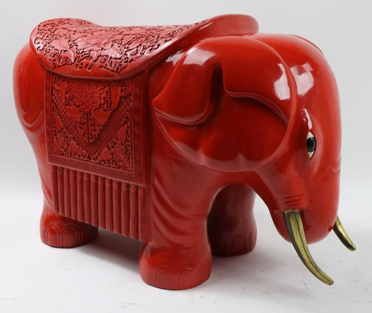 Chinese Export Chinese Cinnabar Elephant For Sale