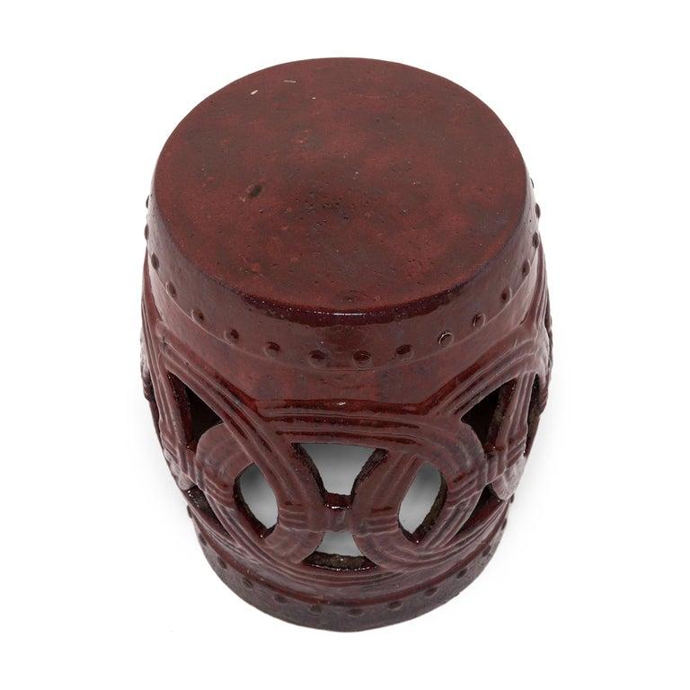 Qing Chinese Cinnabar Glazed Garden Stool