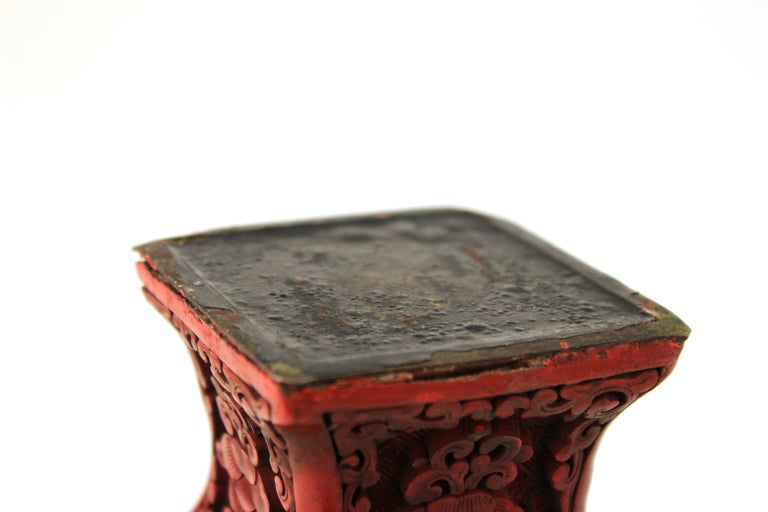 Chinese Cinnabar Lacquer Vase with Carved Scenes For Sale 5