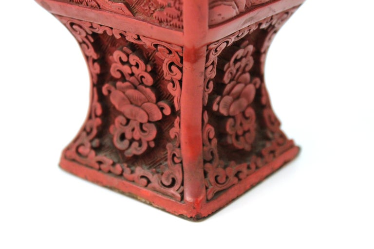 Chinese Cinnabar Lacquer Vase with Carved Scenes For Sale 2