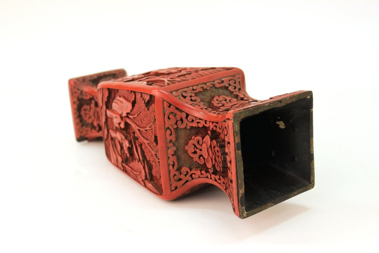 Chinese Cinnabar Lacquer Vase with Carved Scenes For Sale 3