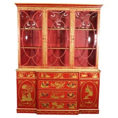 Chinese Cinnabar Red Gold Paint Decorated Chinoiserie Custom Breakfront Display