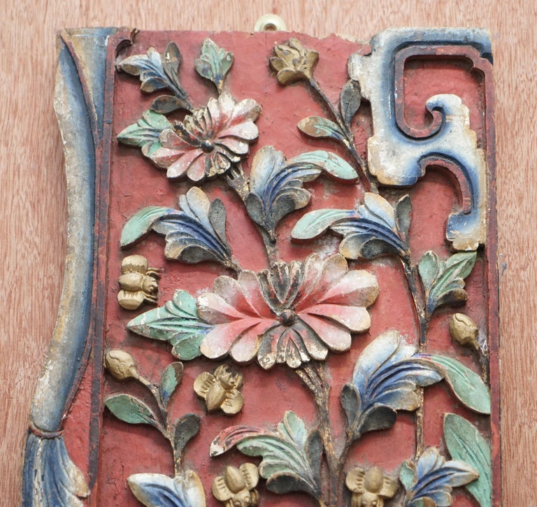 Chinese circa 1860 Antique Victorian Original Paint Carved Wood Wall Panel For Sale 5