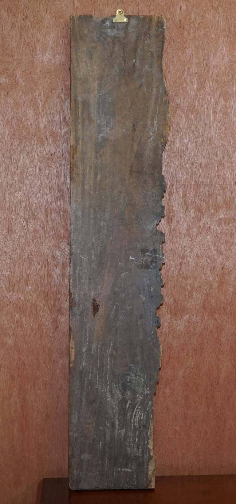 Chinese circa 1860 Antique Victorian Original Paint Carved Wood Wall Panel For Sale 6