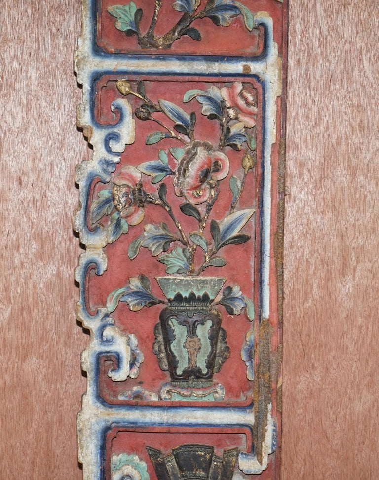 Hand-Carved Chinese circa 1860 Antique Victorian Original Paint Carved Wood Wall Panel For Sale