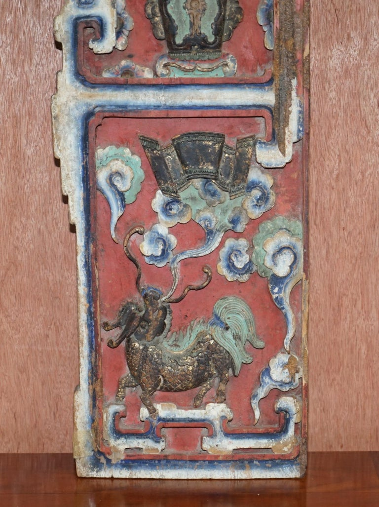 Chinese circa 1860 Antique Victorian Original Paint Carved Wood Wall Panel In Good Condition For Sale In London, GB