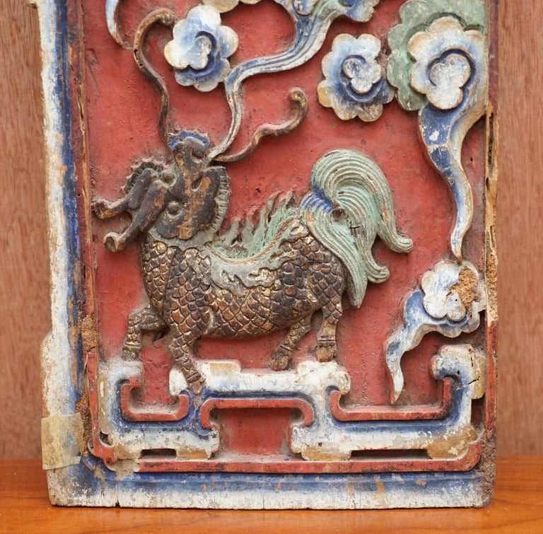 Mid-19th Century Chinese circa 1860 Antique Victorian Original Paint Carved Wood Wall Panel For Sale