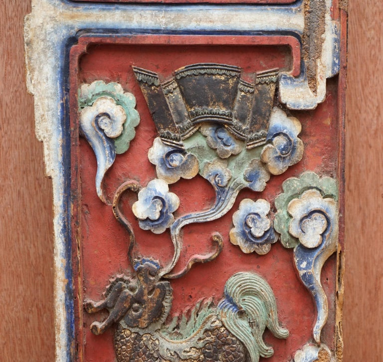 Chinese circa 1860 Antique Victorian Original Paint Carved Wood Wall Panel For Sale 1